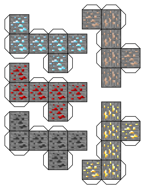 ores and diamonds - Minecraft Papercraft Diamond